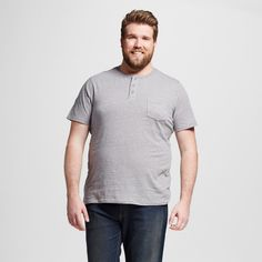 Men's Big & Tall Short Sleeve Henley T-Shirt Gray 5XBT - Mossimo Supply Co.