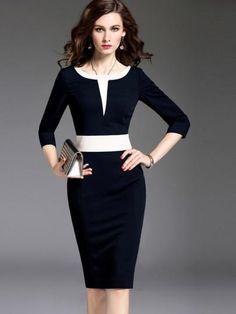 Sleeve Pencil Color Block Formal Women's Sheath Dress- On Sale Now - RishWish Sheath Dress, Dress Skirt, Dress Up, Bodycon Dress, Mode Outfits, Dress Outfits, Fashion Dresses, Fashion 2018, Fashion Brands