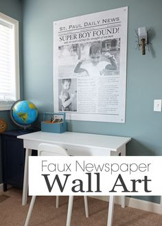 Faux Newspaper Wall Art   Teal & Lime - Engineering print from Staples. Consider having Hobby Lobby mount. Ideas: Anniversary or wedding announcement, graduation, promotion, greatest mom, dad, etc announcement.