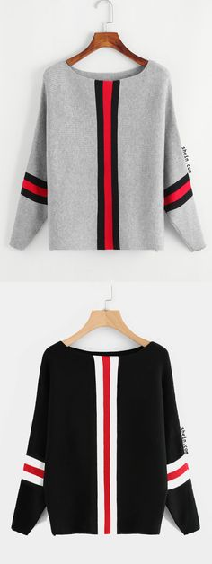 Contrast Striped Trim Knit Sweater