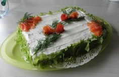 Tigen keittiössä: Lohi-voileipäkakku Sandwich Cake, Sandwiches, Fresh Rolls, Food And Drink, Appetizers, Ethnic Recipes, Foods, Drinks, Food Food