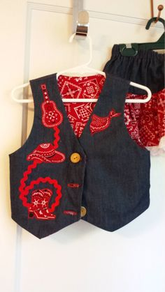 Cowgirl Denim Skirt & Vest with red bandana fabric, Size 2, Ready to Ship free. Can make in size 2 to 6. by RileyEmDesigns on Etsy