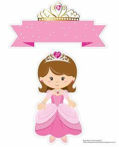 Baby Dolls Princes in Pink Free Printable Cake Toppers. Princess Cake Toppers, Princess Cookies, Princess Theme Birthday, Princess Party, Image Girly, Deco Stickers, Diy And Crafts, Paper Crafts, Baby Clip Art