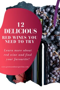 Types of red wine look at the starting place for red wine education – the grapes. Learn about the most common types of grapes and the win they make Red Wine Cocktails, New Year's Drinks, Wine Drinks, Alcoholic Drinks, Cocktail Recipes, Beverages, Cooking With Red Wine, Cooking Wine, Sweet Red Wines