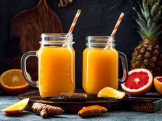 Orange Watermelon Turmeric Juice With Ginger (Dherbs - Herbal Supplements, Herbal Remedies, Natural Healing Remedies, Full Body Detox) Turmeric Juice, Turmeric Health Benefits, Herbal Remedies, Natural Remedies, Spicy Drinks, Fun Drinks, Beverages, Full Body Detox, Summer Fruit
