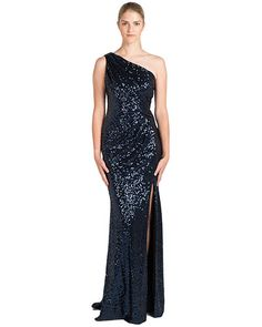 Badgley Mischka EG1660 Side Pleat One-Shoulder Sequin Gown, now available at the official website. Free shipping, exchanges, and returns.