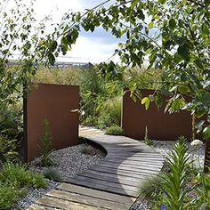 Details about Corten Steel Wall Landscape Feature/Garden Wall Panel Structure Modern Garden Design, Contemporary Landscape, Garden Wall Designs, House Garden Design, Modern Landscape Design, Garden Structures, Garden Paths, Garden Beds, Garden Hose