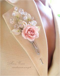 Купить Свадебная бутоньерка для жениха - бутоньерка с розой, бутоньерка цветочная, бутоньерка розовая