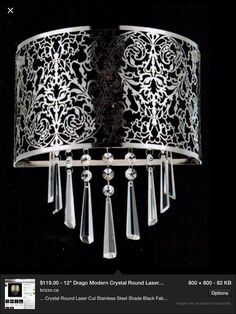 Silver filagree w hanging crystals Outdoor Lighting Landscape, Hanging Crystals, Kitchen Pendants, Ceiling Lights, Ceiling Fans, Lamp Shades, Black Fabric, Wall Sconces, Floor Lamp