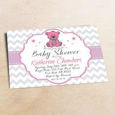 Baby Shower Invitation /Purple Grey Bear Baby Shower invitation