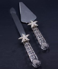 The ultimate accessory for beach weddings, ultra-elegant coastal themed events, and sophisticated waterside homes, is our shimmering Swarovski crystal-trimmed Cake Knife & Server Set. Nautical Gifts, Nautical Home, Beach House Decor, Thank You Gifts, Event Decor, Clear Crystal, Starfish, Swarovski Crystals, Coastal