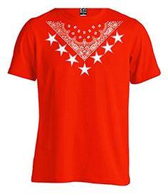 Urban Wear Red Bandana Star Crew Tee T shirt Hipster Paisley Young Blood LA NY (3X - XXXL - 3XL)