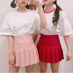 Twin Outfits, Matching Outfits, Skirt Outfits, Cool Outfits, Pastel Fashion, 90s Fashion, Korean Fashion, Fashion Outfits, Clothing Sketches