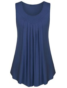 Gamiss Basic Top Sleeveless Shirt Pleated Loose Casual Tank Top For Ladies