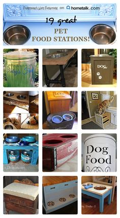 Say goodbye to annoying pet food messes for good!--see 19 inspirational pet food stations here! Food Dog, Cat Food, Dog Food Recipes, Food Tips, Pet Dogs, Dog Cat, Doggies, Pet Food Storage, Kitchen Storage