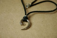Stainless Pendant with Black Leather Necklace Toggle Clasp