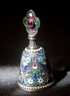 Russian Silver Enamel Perfume Bottle in Bell shape with a Ruby set into the enamelled Stopper | on eBay ♥≻★≺♥