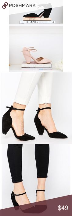 """ASOS Pointed Heels in Black These are...wedding heels, girlboss heels, executive, mommy, youngin, speech-making, family, and hot date heels....so get them.  #everyoccassion Deetz below: . . . HEELS by ASOS COLLECTION Suede-look upper Pointed toe design Pin buckle strap fastening Wipe light marks with a soft cloth 100% Textile Upper Heel height: 8cm/3"""" ASOS Shoes Heels"""