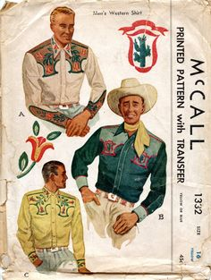 1947.   This is the earliest western shirt pattern I've found thus far. Unlike some of the later western shirt patterns, this is purely ...