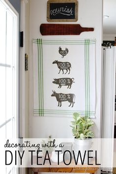Kitchen Decorating Ideas: DIY Butcher Sign Tea Towel  #DamageFreeDIY  #ad