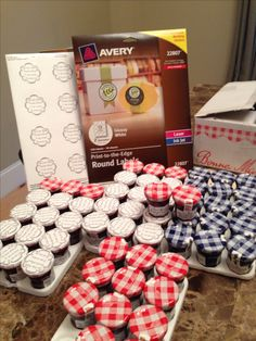 """Pop-By! ~or Trade Show giveaways! I think these Bonne Maman jars are the best kept secret around. I ordered mine online but World Market carries them at a steeper price. Avery 2"""" round labels and get your design from avery.com. Have Fun!"""