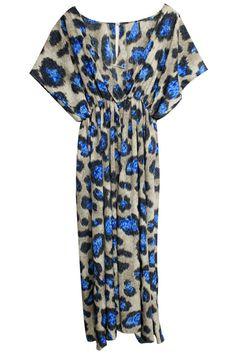 """Blue Leopard"" Khaki Dress. Description Khaki dress, featuring unique V-neck, sleeveless, an elasticated, high-rise waist, pleated lower body, blue leopard print throughout, full length, asymmetric hem. Fabric Chiffon. Washing Cool hand wash with similar colours, do not tumble dry. #Romwe"