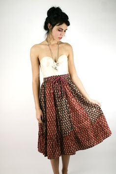 VTG 70s Ethnic Boho BATIK Festival Midi Wrap Skirt Dress Cotton Gauze XS. $48.00, via Etsy.