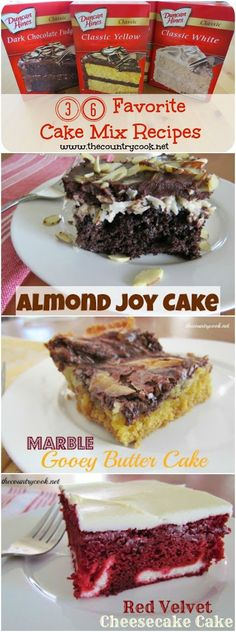 36 AMAZING Cake Mix recipes from The Country Cook! These are 40 of the best cake mix recipes in one spot! Blondies, Grasshopper Cake, Lemon Crumble Bars and many more! Oreo Dessert, Cake Mix Desserts, Cake Mix Cookies, Köstliche Desserts, Delicious Desserts, Dessert Recipes, Chocolate Cake Mix Recipes, Boxed Cake Recipes, Cake Mix Brownies