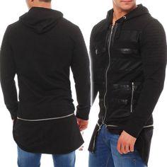 Bangastic-Herren-Oversize-Sweatshirt-Jacke-Hoodie-Biker-Leder-Optik-Bgzh025