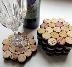 Honeycomb Wine Cork Coasters With Black Ribbon-Set of Four