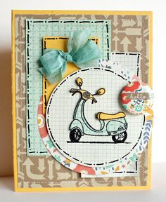 Scooter - Scrapbook.com - Love the doodled stitched lines!