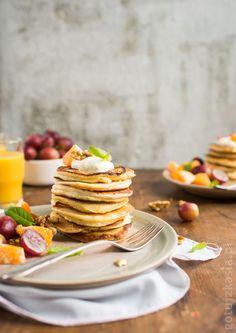 Puszyste placki z serkiem Pancakes, Breakfast, Food, Morning Coffee, Eten, Meals, Pancake, Morning Breakfast, Crepes