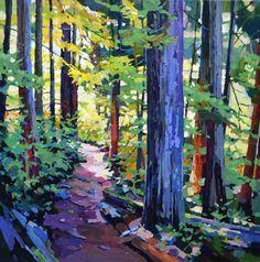 Cedar Trail by Randy Hayashi, Acrylic on Canvas, Painting Landscape Art, Landscape Paintings, Painting & Drawing, Kiss Painting, Oil Painting Trees, Tree Paintings, Tree Art, Painting Inspiration, Amazing Art