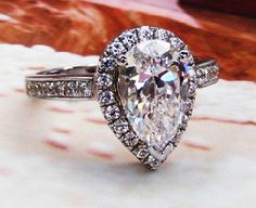 3 Ct Pear Cut lab made Diamond (not CZ) Halo Engagement Cocktail Ring