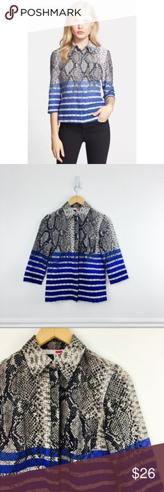 """Tracy Reese phyton shirt Lace buttondown with 3/4 sleeves in gray phyton print and bright blue stripes. Cotton and nylon. Size XS. Chest 18.5"""", length 23. Excellent used condition. Tracy Reese Tops"""