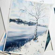 Snow is everywhere: outside, in my mind and in the painting ❄ ❄ ❄ Не вышло не попасть под влияние снежного безобразия, которое творится за окном всю неделю