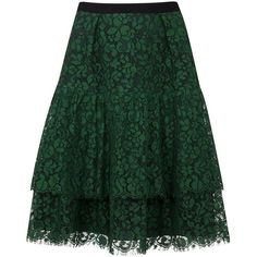 Womens Knee-Length Skirts Erdem Aine Green Flared Lace Skirt ($1,110) ❤ liked on Polyvore featuring skirts, knee high skirts, flare skirt, knee length lace skirt, tiered skirt and knee length skirts