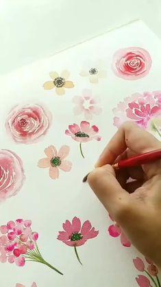 Watercolor Beginner, Watercolor Art Lessons, Watercolor Painting Techniques, Watercolor Art Paintings, Artist Painting, Painting & Drawing, Watercolors, Watercolour Flowers, Pink Watercolor