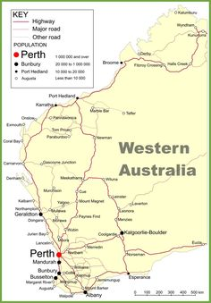 A Detailed Guide to Planning an East Coast Australia Road Trip Road map of Western Australia with cities and towns West Coast Australia, Perth Australia, Western Australia, Australia Travel, Australia Weather, Travel Oz, Travel Tours, Westerns, Australian Road Trip