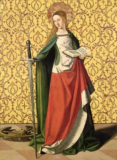 St CATHERINE OF ALEXANDRIA, The Catherine Wheel Martyr, Patron Saint of Philosophers, Theologians, Teachers, Librarians, Potters, Unmarried Girls and People who work with Wheels. http://www.godchecker.com/pantheon/christian-mythology.php?deity=CATHERINE