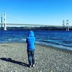 Blue hoodie boy in the beach down #Tacoma #WA #visitUSA #USA #travel #travelling #picoftheday #blue #nature #bridge