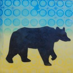 Sallyann Milam Paschall (Cherokee), Block Patterns:Winter Grizzly, 5.5''h x 5.5''w, Mixed Media on Wood Block. All rights reserved. Please call the gallery to inquire 602.346.8250.