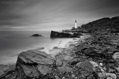 Black and White Photograph Portland Head Light Maine by klgphoto