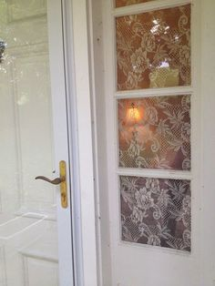 corn starch and lace for privacy windows.