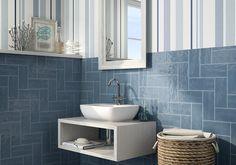 Image result for vertical blue metro tiles bathroom