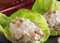 Asian Chicken Salad Lettuce Cups (Read the labels on the Hoisin sauce and chili paste.  Asian items are noted for containing soy/soya in some form.)
