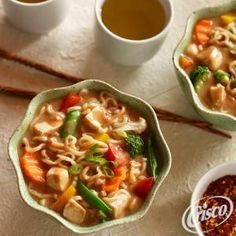 Spicy Chicken Vegetable Noodle Bowl from Jif® Vegetable Soup With Chicken, Vegetable Noodles, Chicken And Vegetables, Indian Food Recipes, Asian Recipes, Ethnic Recipes, Chinese Recipes, Noodle Bowls, Ramen Noodle