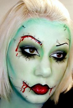 Green makeup Halloween blood costume witch zombie