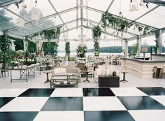 Clear top wedding tent black and white checker dance floor