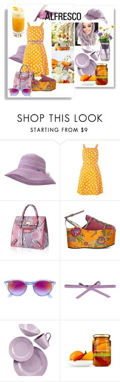"""""""Orange and Lilac Blossom Days"""" by kelly-floramoon-legg ❤ liked on Polyvore featuring Outdoor Research, Dorothy Perkins, Gucci, Ray-Ban, Carla G., Portmeirion, Modern Sprout, polyvorecontest and alfrescodining"""